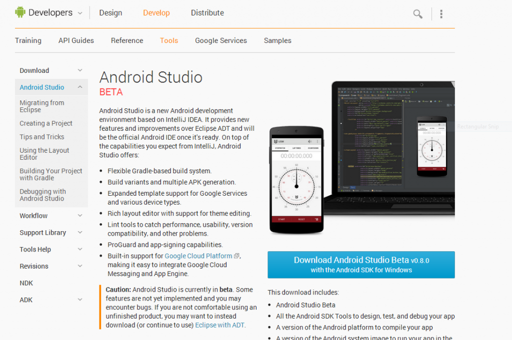 You can download the Android Studio together with Android SDK from ...