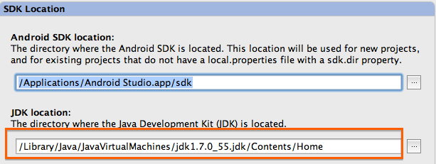 New JDK Location